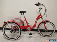 "ADULTS TRICYCLE, FOLDING, 24"" WHEELS, 6 GEARS, RED, adult trike,  Dreirad, ALLOY for Sale"