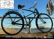 1953 Simplex Zweeffiets Spring Cross frame Suspension Vintage Antique Bicycle for Sale