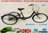 """Classic 24"""" Adult Tricycle 6 Speed 3 Wheel Bicycle Trike Cruise Basket + Lamp NEW for Sale"""