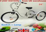 "Classic 24"" White Adult Tricycle 3 Wheel 6 Speed Bicycle Trike Cruise Basket + Lamp NEW for Sale"