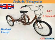 "24"" Adult Tricycle 6 Speed 3 Wheel Bike Tricycle Cruise Basket + Lamp UK STOCK for Sale"
