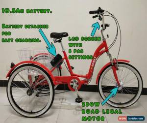 "Classic ELECTRIC TRICYCLE, FOLDING, 24"" WHEELS, 6 SPEED, RED, adult tricycle for Sale"