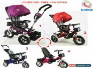 4 In 1 Kids baby Tricycle Trike Pushchair Stroller Pram Rain Cover Rubber Tyres for Sale