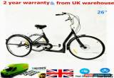 """Classic 26"""" 6 Speed 3 Wheel Bike Bicycle Adult Tricycle Cruise with Shopping Basket UK for Sale"""