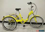 "ADULT TRICYCLE, 24"" WHEELS, 6 SPD SHIMANO GEARS, YELLOW, triciclo, trike, ALLOY for Sale"