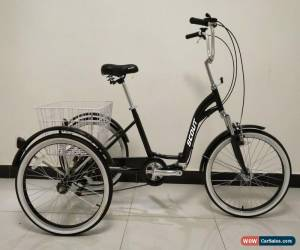 """Classic ADULTS TRICYCLE, 24"""" WHEELS, 6 SPD SHIMANO GEARS, BLACK, triciclo, trike, ALLOY for Sale"""